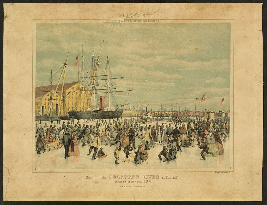 Ice Skaters on the Delaware Iced Over LOC